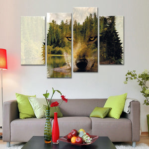 Double Exposure Wolf Multi Panel Canvas Wall Art - Wolf