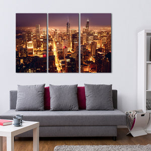 Downtown Chicago Multi Panel Canvas Wall Art - City