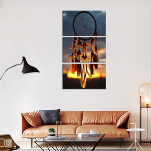 Sunrise Dream Catcher Multi Panel Canvas Wall Art - Native_american