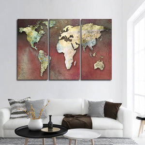 Dreamers World Map Multi Panel Canvas Wall Art - World_map