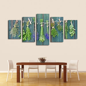 Drying Herbs Multi Panel Canvas Wall Art - Botanical