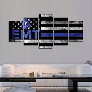 EMT Logo Flag Multi Panel Canvas Wall Art - Medical