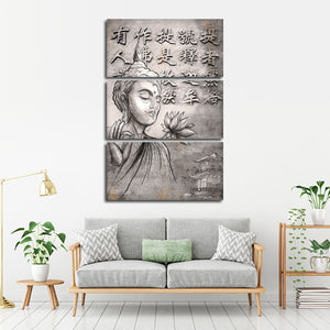 Eastern Serenity Multi Panel Canvas Wall Art - Buddhism