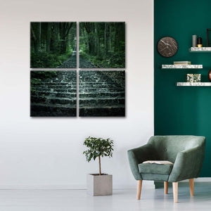 Eerie Forest Pathway Multi Panel Canvas Wall Art - Stairs
