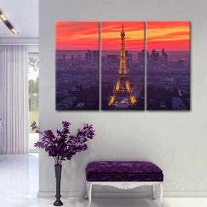 Eiffel After Sunset Multi Panel Canvas Wall Art - Paris