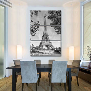 Eiffel Tower And River Seine Multi Panel Canvas Wall Art - Paris