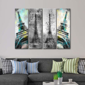 Eiffel Tower Collage Multi Panel Canvas Wall Art - Paris