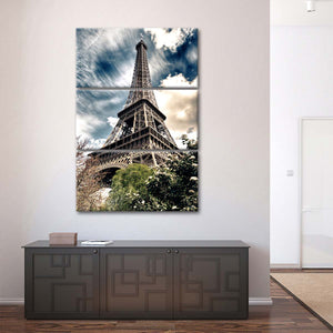 Eiffel Tower From Below Multi Panel Canvas Wall Art - Paris