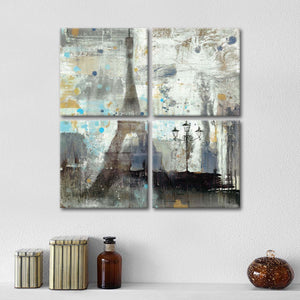 Eiffel Tower Neutral Multi Panel Canvas Wall Art - Paris