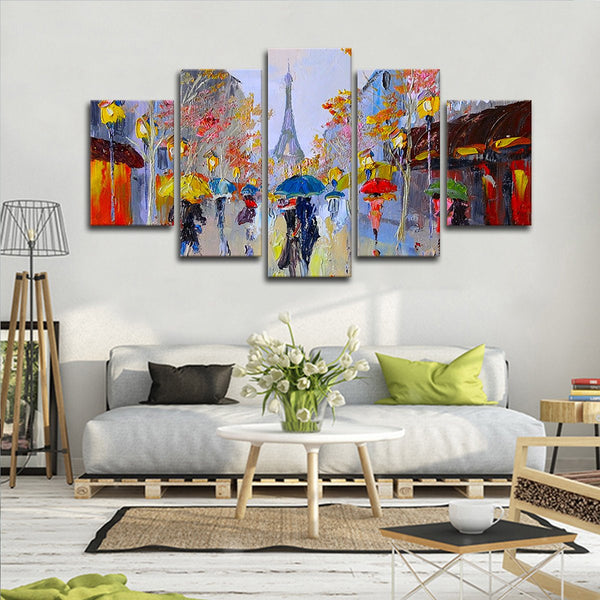 Eiffel Tower Painting Multi Panel Canvas Wall Art