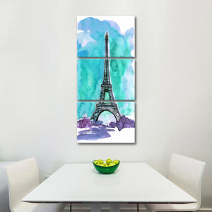 Eiffel Watercolor Multi Panel Canvas Wall Art - Paris