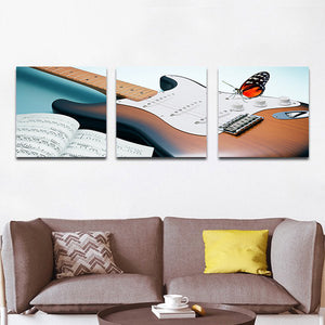 Electric Guitar Multi Panel Canvas Wall Art - Guitar