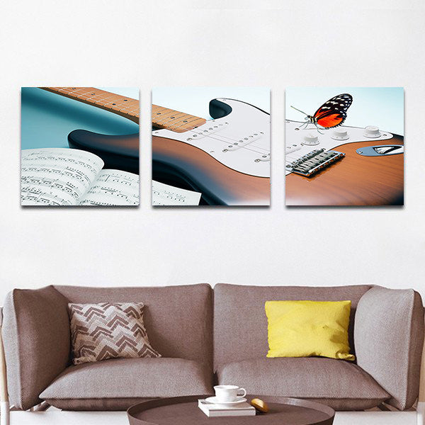 Electric Guitar Multi Panel Canvas Wall Art
