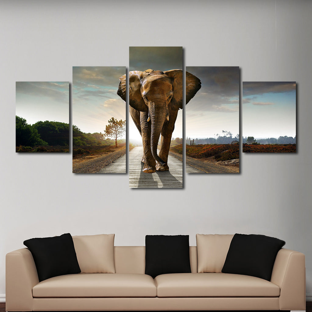 Elephant Stock Multi Panel Canvas Wall Art Lr X