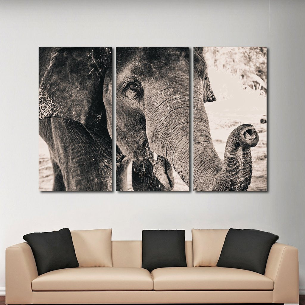 elephant view multi panel canvas wall art elephantstock. Black Bedroom Furniture Sets. Home Design Ideas
