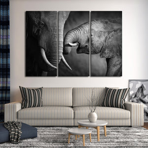 Elephant Affection Multi Panel Canvas Wall Art - Elephant