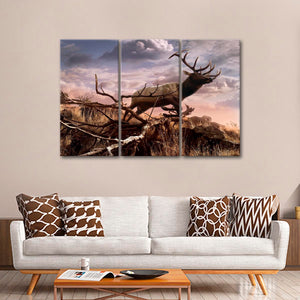 Elk Passage Multi Panel Canvas Wall Art - Hunting