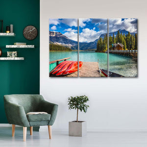 Emerald Lake Kayaking Multi Panel Canvas Wall Art - Kayak
