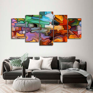 Endearing Abstract Multi Panel Canvas Wall Art - Color