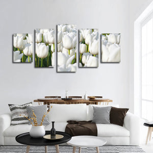 Endless White Tulips Multi Panel Canvas Wall Art - Flower