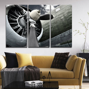 Engine Power Multi Panel Canvas Wall Art - Airplane