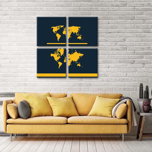 Ensemble World Map Multi Panel Canvas Wall Art - World_map