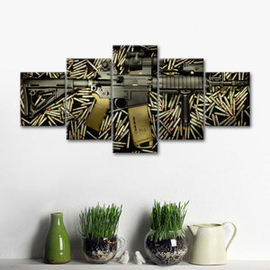 Equipped Rifle Multi Panel Canvas Wall Art - Guns