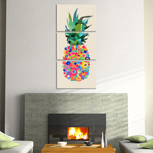 Retro Pineapple Multi Panel Canvas Wall Art - Pineapple