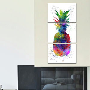 Pineapple Color Splash Multi Panel Canvas Wall Art - Pineapple