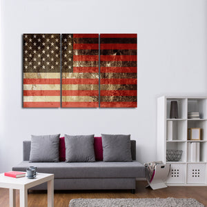 Faded American Flag Multi Panel Canvas Wall Art - America
