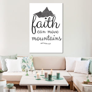 Faith Can Move Mountains Canvas Wall Art - Religion