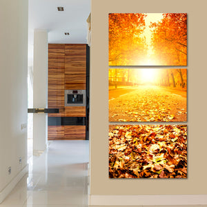 Fallen Leaves Multi Panel Canvas Wall Art - Nature