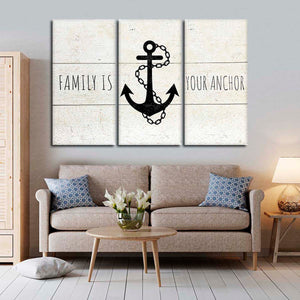 Family Is Your Anchor Multi Panel Canvas Wall Art - Nautical