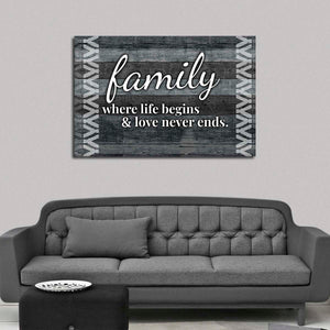 Family Love Never Ends Canvas Wall Art - Inspiration