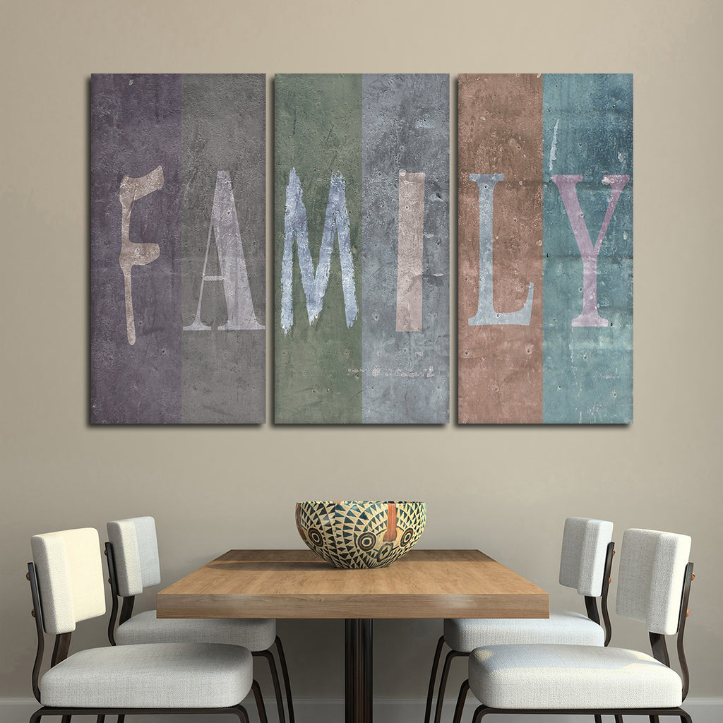 family multi panel canvas wall art elephantstock. Black Bedroom Furniture Sets. Home Design Ideas