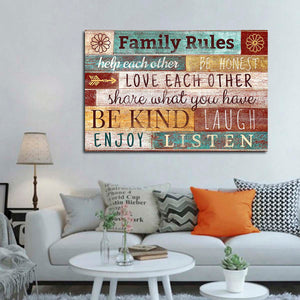 Family Rules Canvas Wall Art - Inspiration