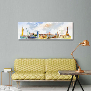 Famous World Map Multi Panel Canvas Wall Art - World_map