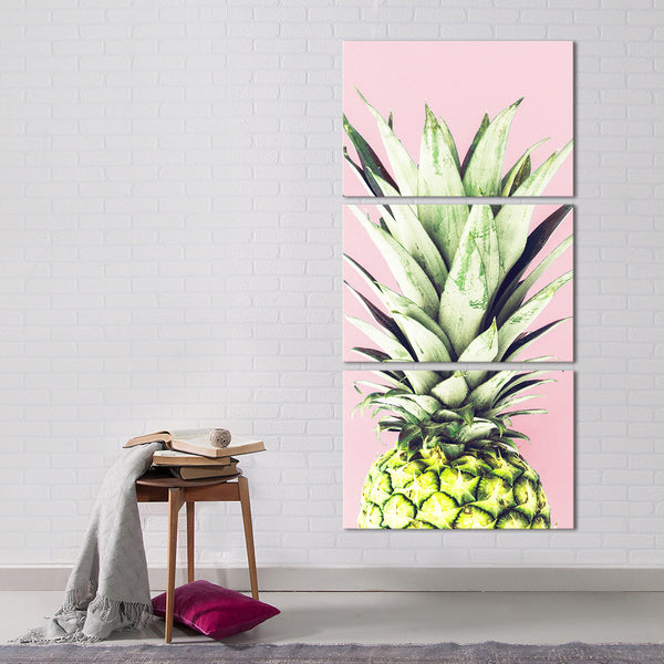 Pineapple Fashion Pink Multi Panel Canvas Wall Art
