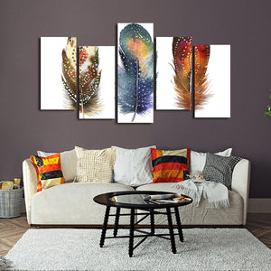 Feathers Tribe Multi Panel Canvas Wall Art - Color