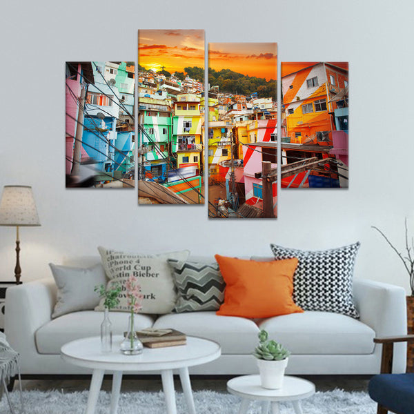 Favela at Rio Multi Panel Canvas Wall Art