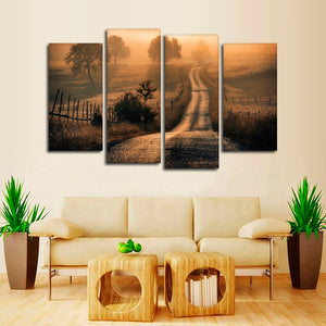 Field Of Fog Multi Panel Canvas Wall Art - Village
