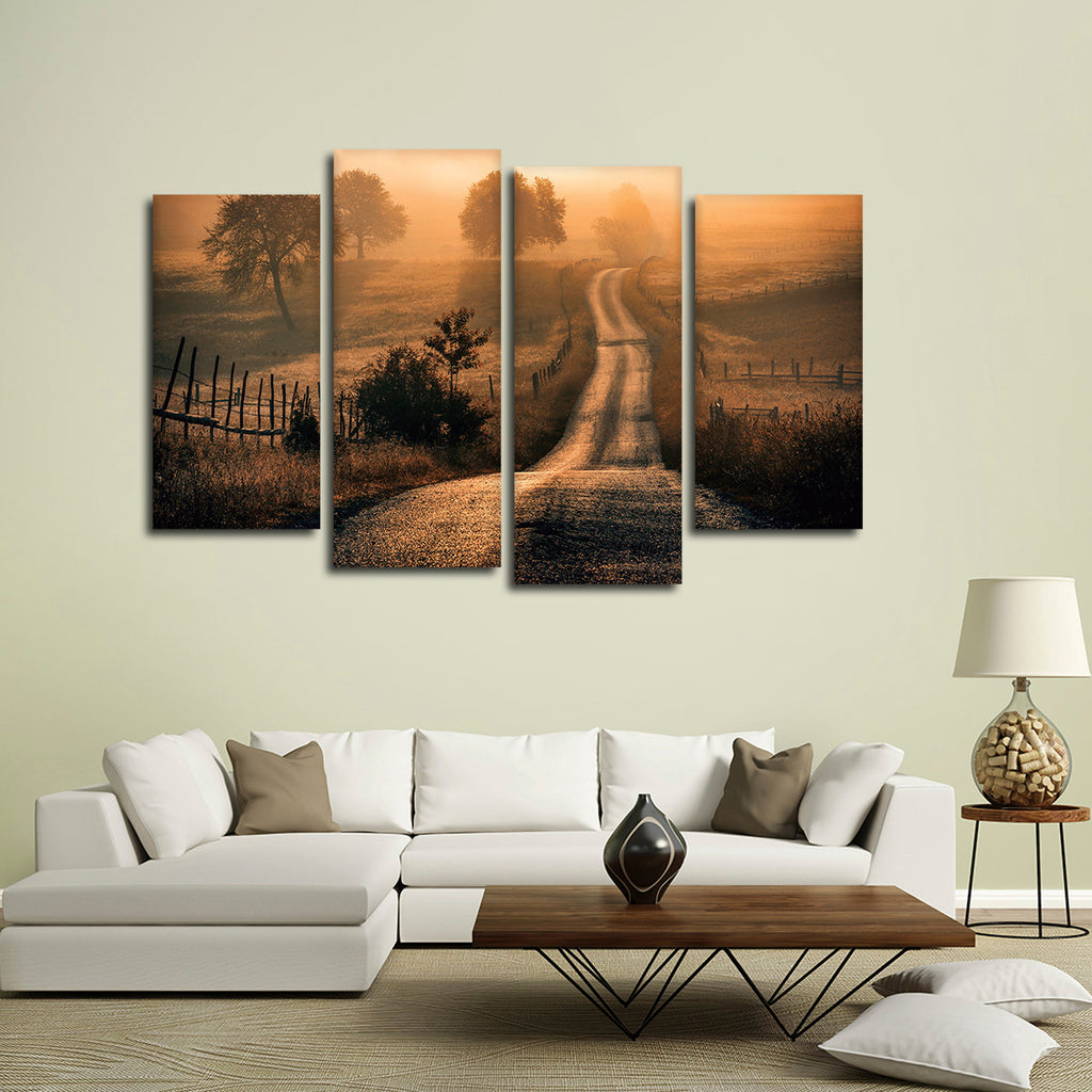Field Of Fog Multi Panel Canvas Wall Art | ElephantStock