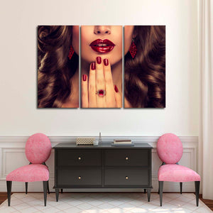 Fiery Red Nails Multi Panel Canvas Wall Art - Nails