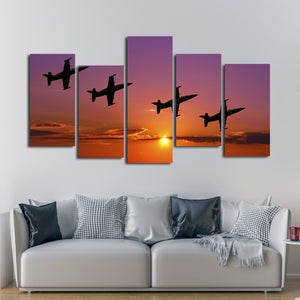 Fighter Jets at Sunset Multi Panel Canvas Wall Art - Airplane