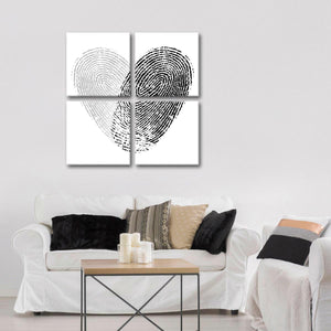 Fingerprint Heart Multi Panel Canvas Wall Art - Relationship