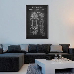 Fire Hydrant Patent BW Canvas Wall Art - Firefighters