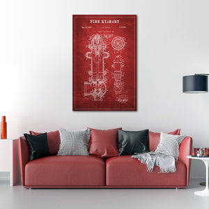 Fire Hydrant Patent Canvas Wall Art - Firefighters