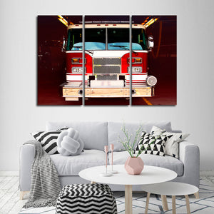 Fire Truck Multi Panel Canvas Wall Art - Firefighters