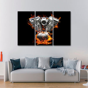 Fired Up Engine Multi Panel Canvas Wall Art - Motor