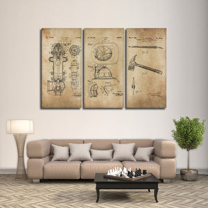Firefighter Patent Compilation Multi Panel Canvas Wall Art - Firefighters